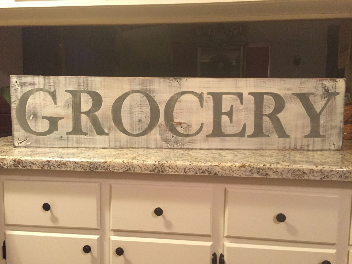 A personal favorite from my Etsy shop https://www.etsy.com/listing/462721701/grocery-sign-fixer-upper-kitchen