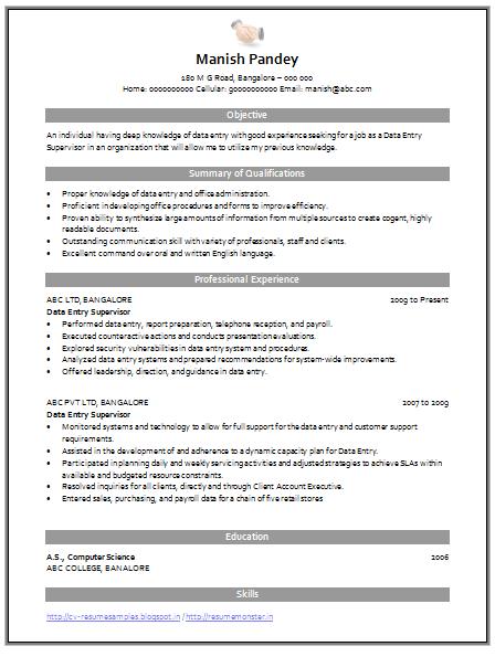 Professional Curriculum Vitae Resume Template For All Job Seekers Sample Template Good Format Of A Data Entry Data Entry Resume Curriculum Vitae Resume