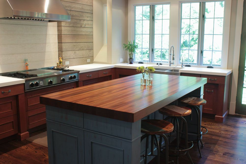 Sapele Butcher Block Island Top Counter Is 1 1 2 Thick Satin