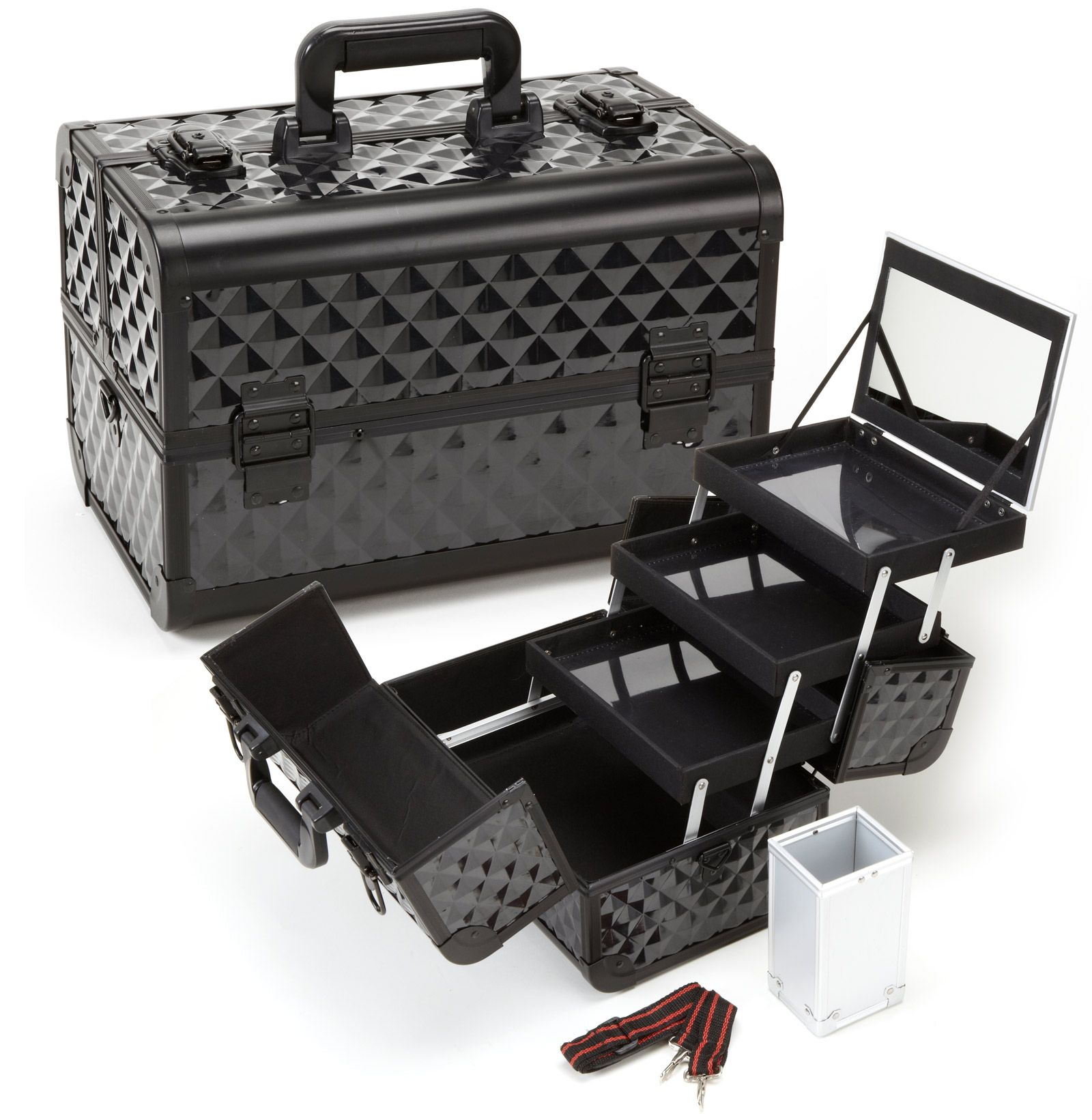 Professional Makeup Case with Trays and Brush Holder