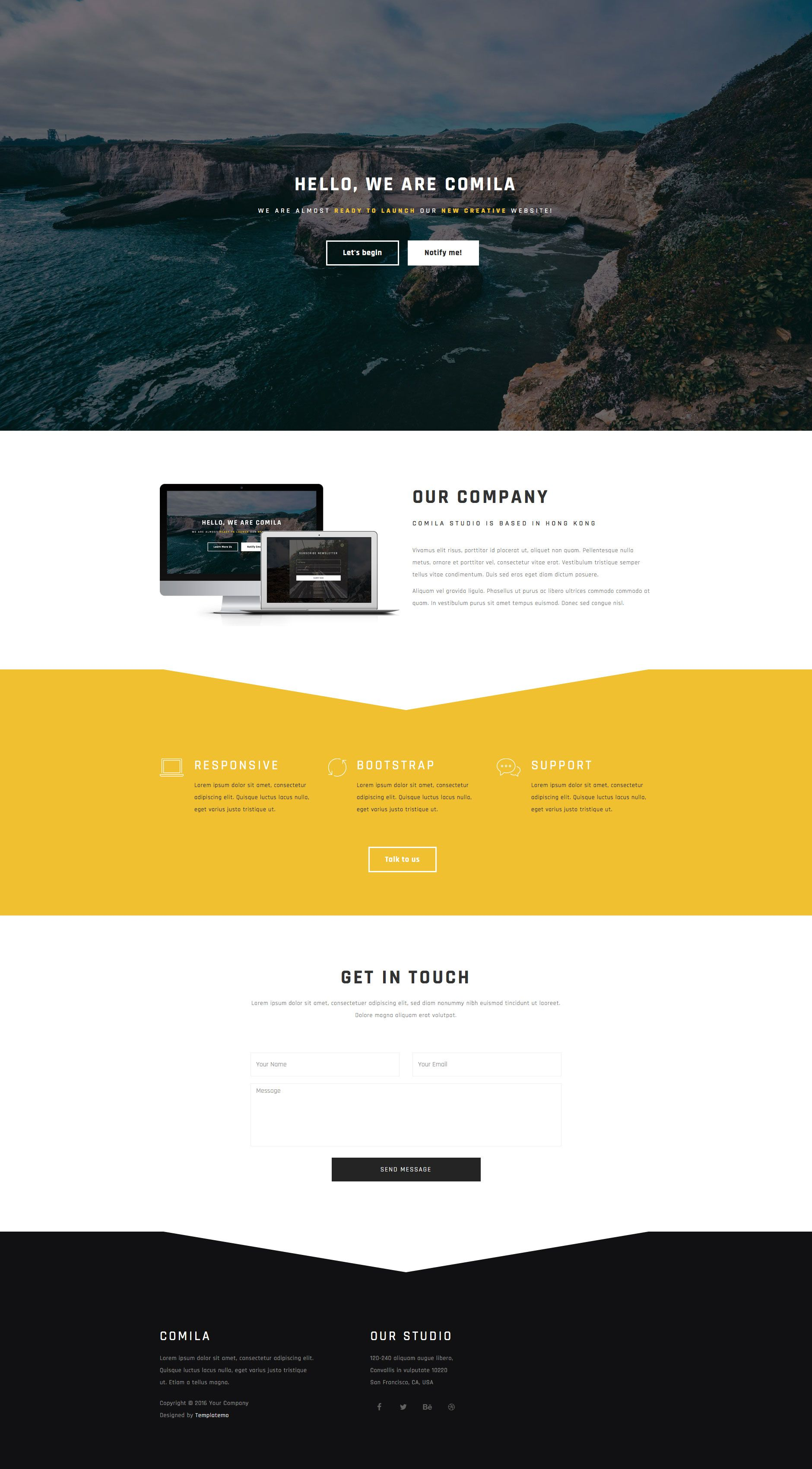 Comila is a modern free responsive HTML5 landing page site template ...