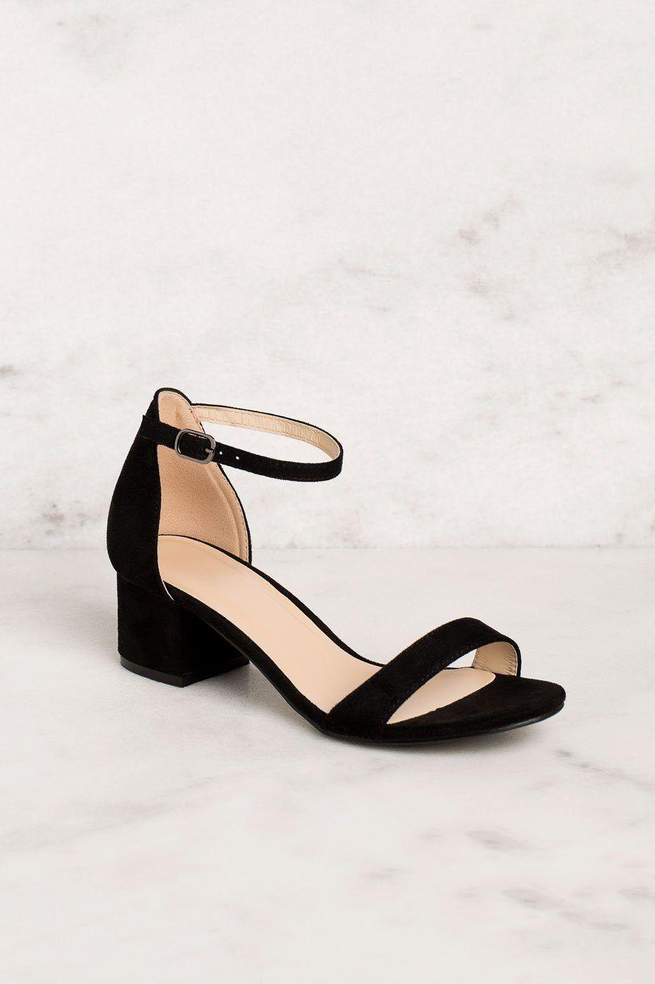 Merideth Black Low Block Heels 7