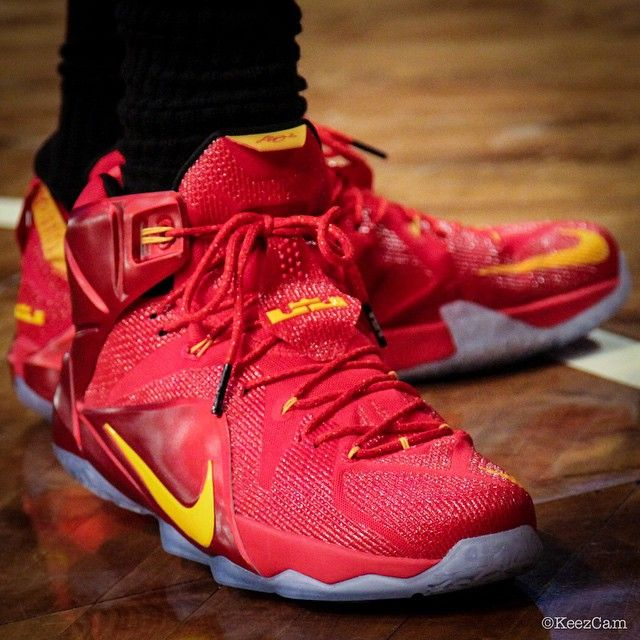 big sale cb25a c8850  SoleWatch  Up Close With LeBron James  Red Yellow Nike LeBron 12 PE