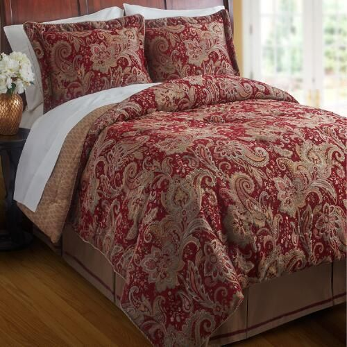 One of my favorite discoveries at ChristmasTreeShops.com: Croscill® Full/Queen Red Mystique Reversible Comforter Set