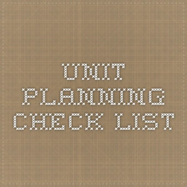 unit planning check list