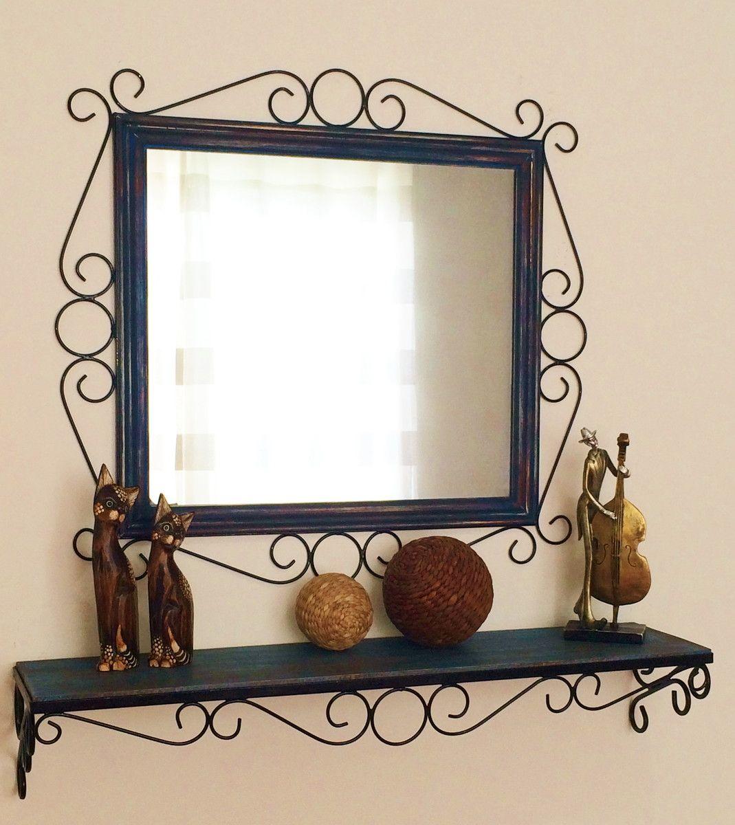 Armario Modulado Banheiro ~ Moldura + aparador (ferro e madeira) Moldura para espelho, Madeira de demoliç u00e3o e Aparador
