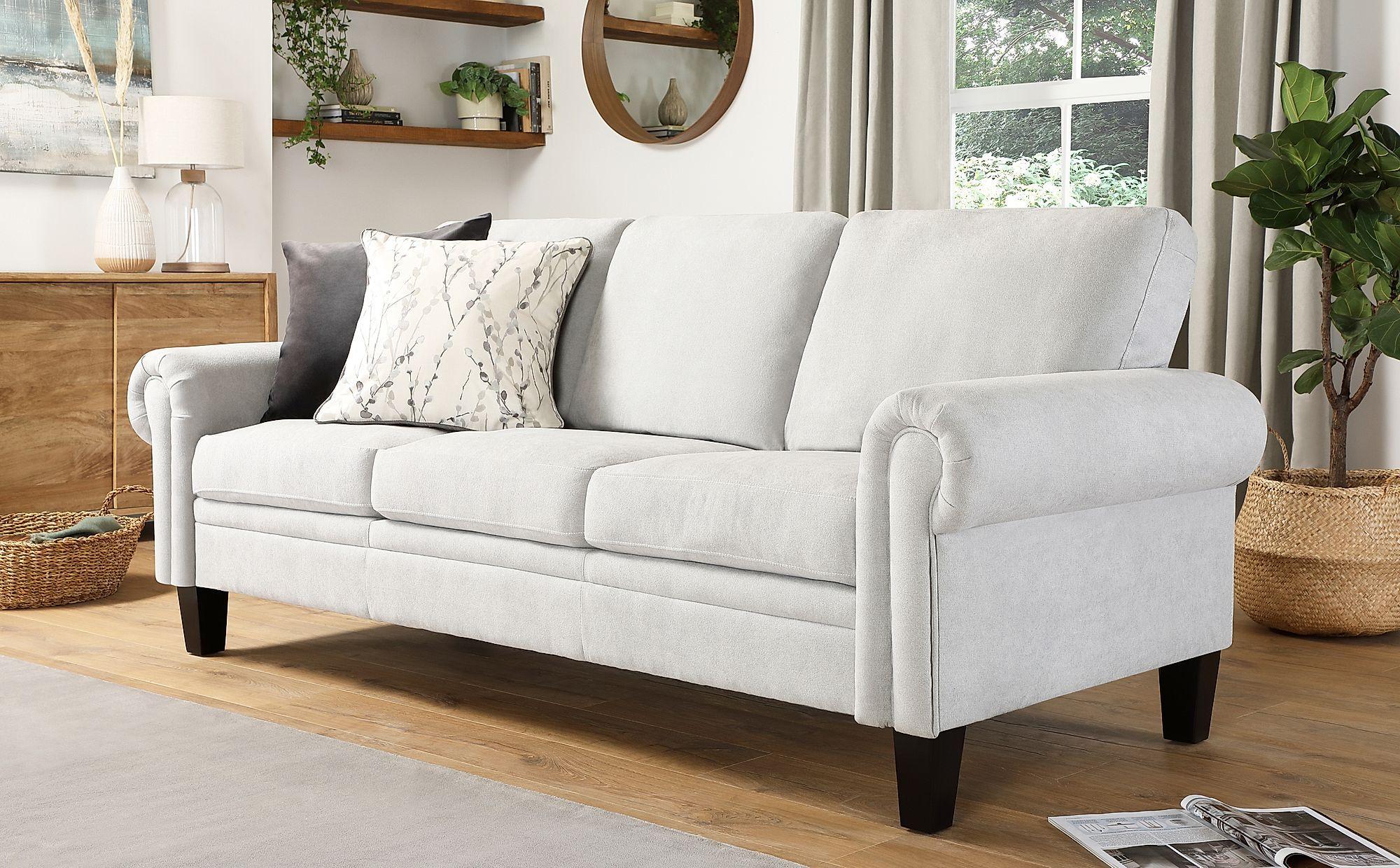 Oakley Dove Grey Plush Fabric 3 Seater Sofa 3 Seater Sofa Sofa Furniture Sofa