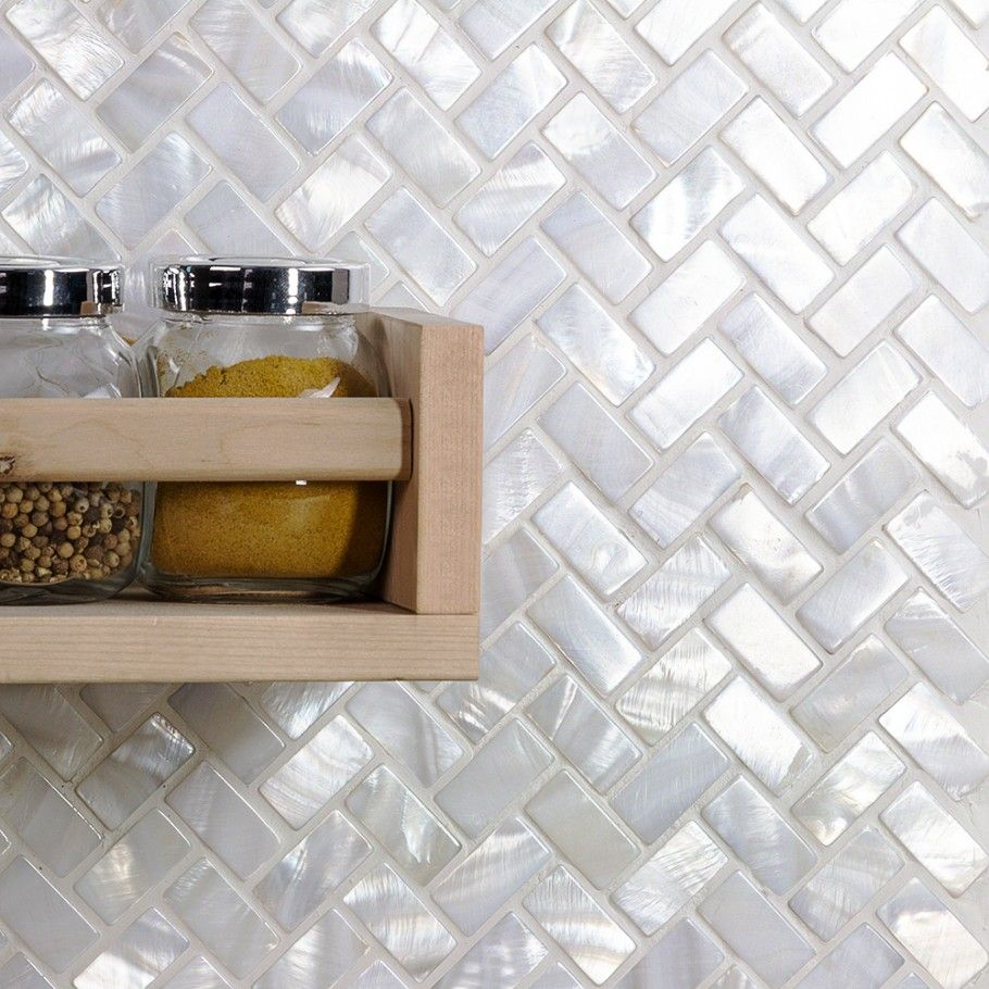 Oyster white pearl herringbone tile pearl shell tiles for Small bathroom herringbone tile