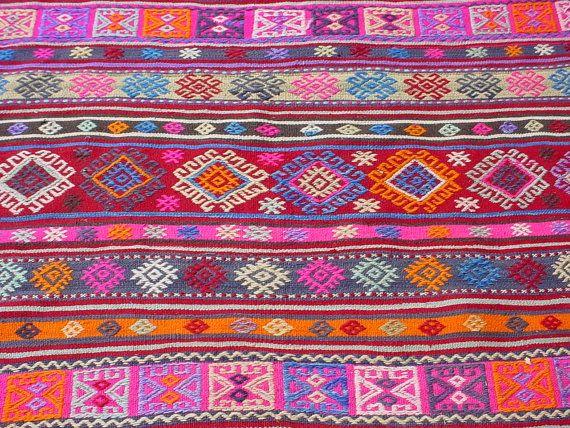 Vintage Turkish Area Rug Kilim Carpet Cicim Embroidered Por So