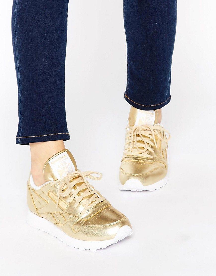 pretty nice 7eac9 f6c3f Zapatillas de deporte clásicas de cuero en dorado Spirit de Reebok.  Zapatillas de deporte de Reebok, Exterior de cuero auténtico, Acabado  metalizado, ...