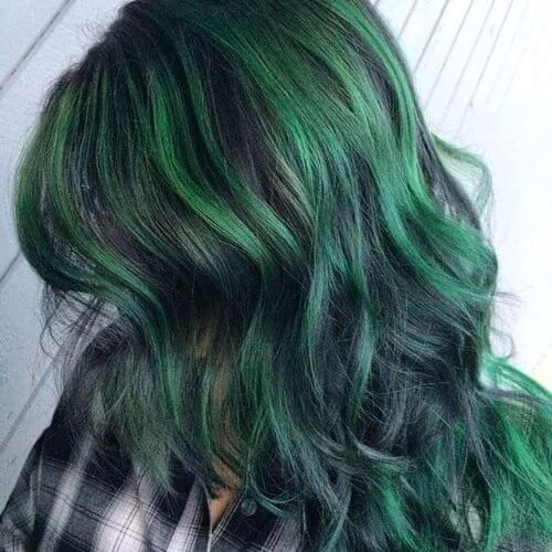 Green Balayage On Dark Hair Brown Hair Balayage Dark Green Hair Hair Color Balayage