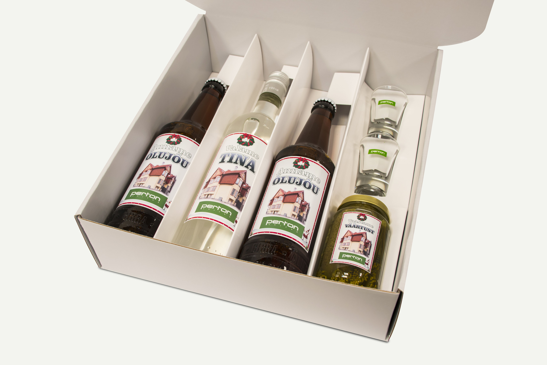 Perton kinkekomplekt: õlu, viin, pitsid ja hapukurk www.stillabunt.ee