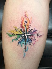 Photo of Boussole aquarelle par Jaxin au Red Rock'n Tattoos Las Vegas Aquarell-Kompass vo …