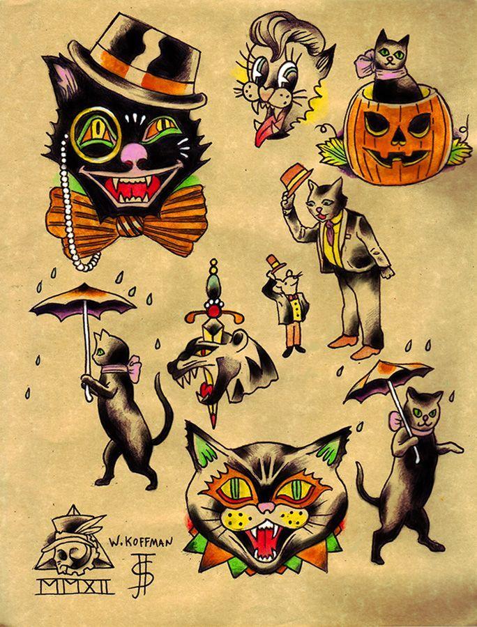 2fc9633b08b1b862224bc7800230bcbc (684×900) Halloween Tattoo Flash, Halloween  Cat, Vintage