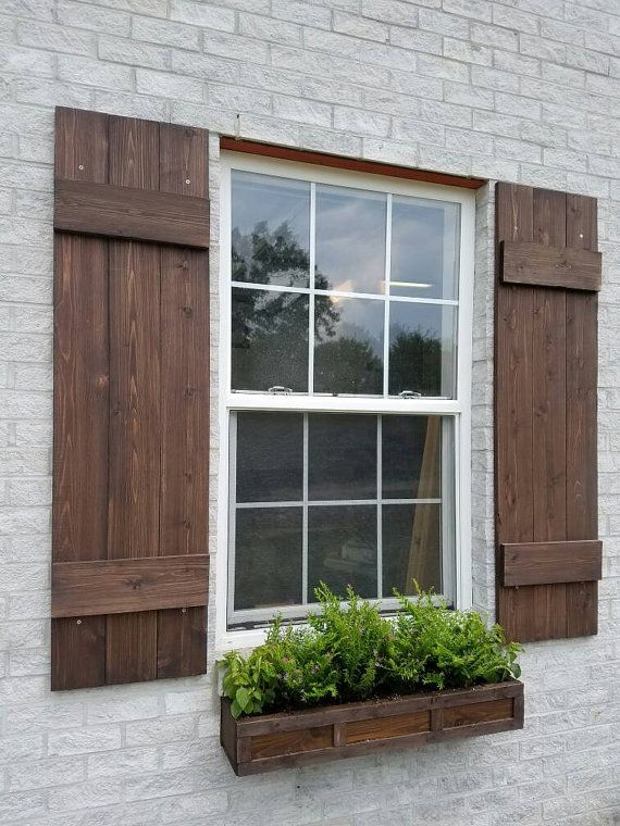 Wood Shutters Rustic Exterior Cedar Shutters Board And Batten Wood Shutters Exterior Exterior Brick Brick Exterior House