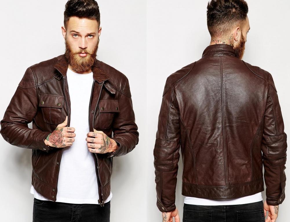 R P Asos Meska Kurtka Pilotka Skora Naturalna M 5707389262 Oficjalne Archiwum Allegro Moda Casual Leather Jacket Casual