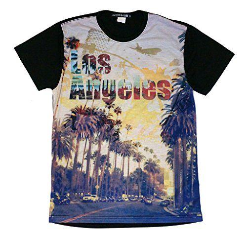 Kayden K Men's Sublimation T shirts LA city with palm tree Medium Kayden K  http: