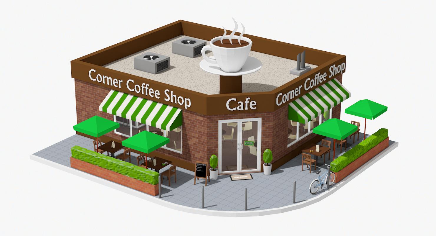 Corner Coffee Shop (interior/exterior)