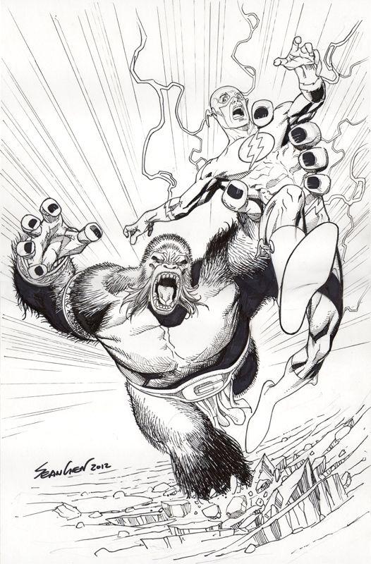 The Flash Vs Gorilla Grodd By Sean Chen