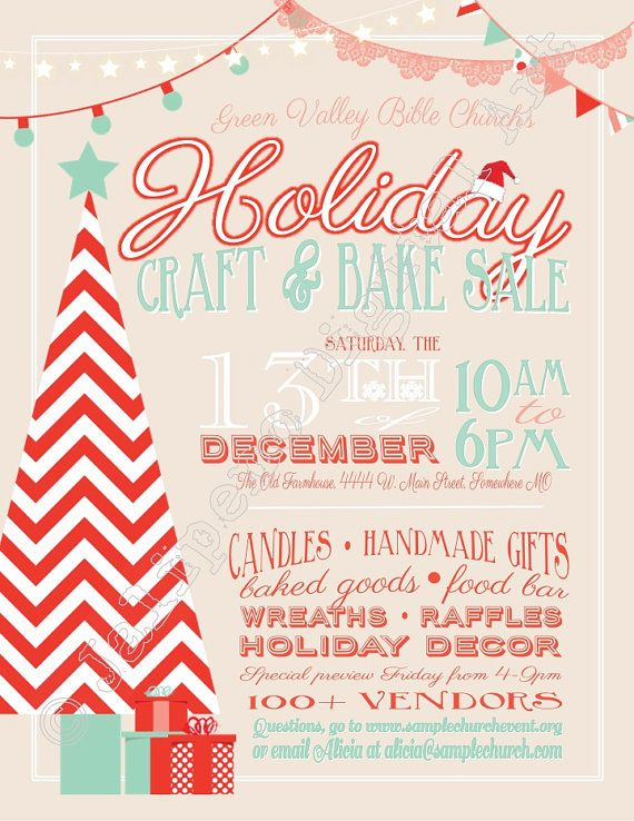 Holiday Craft Boutique Fair Show PRINTABLE Flyer by Jalipeno - christmas flyer template
