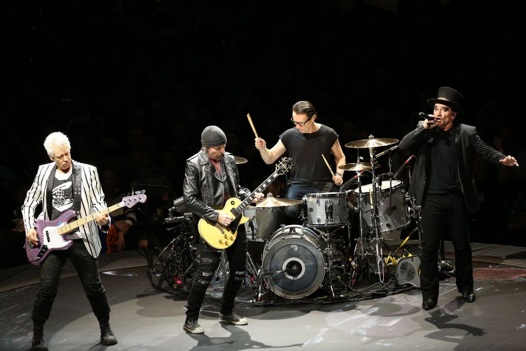 LONDON, ENGLAND - OCTOBER 23: Bono, The Edge, Adam Clayton