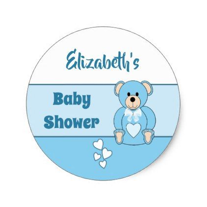 Teddy bear boy baby shower party favor classic round sticker favors