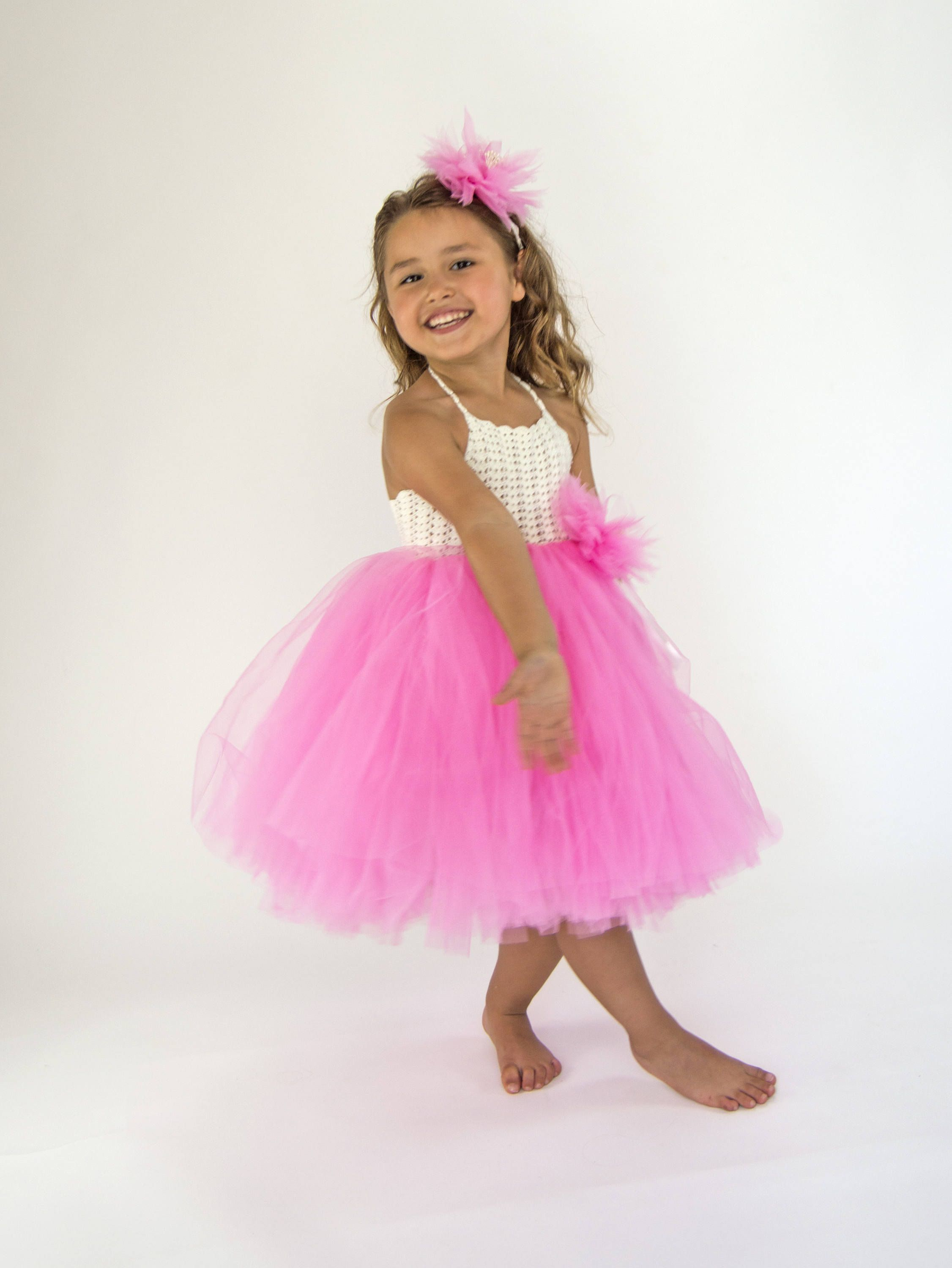 Ivory and Pınk Girl Tutu Dress.Flower Girl Tulle Dress with Lace ...
