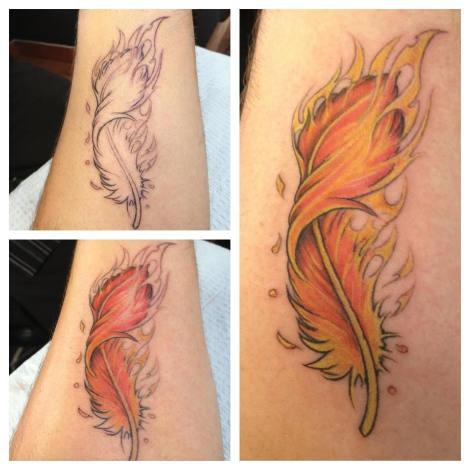 Phoenix Feather Tattoo I Like The Idea Of Having A Phoenix Feather But Not Curled Up Like That Phoenix Feather Tattoos Feather Tattoo Design Feather Tattoos