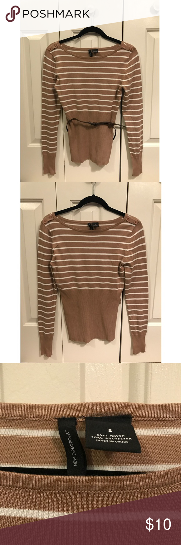 Brown/Tan and White Striped Sweater | Scoop neck and Brown