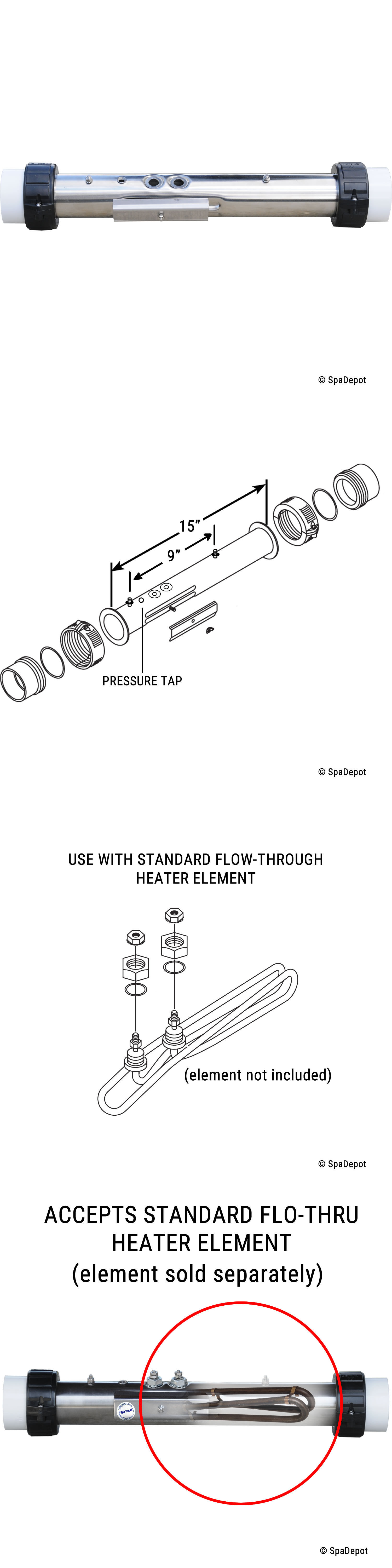 Spa and Hot Tub Parts Flow Thru Spa Heater Manifold For