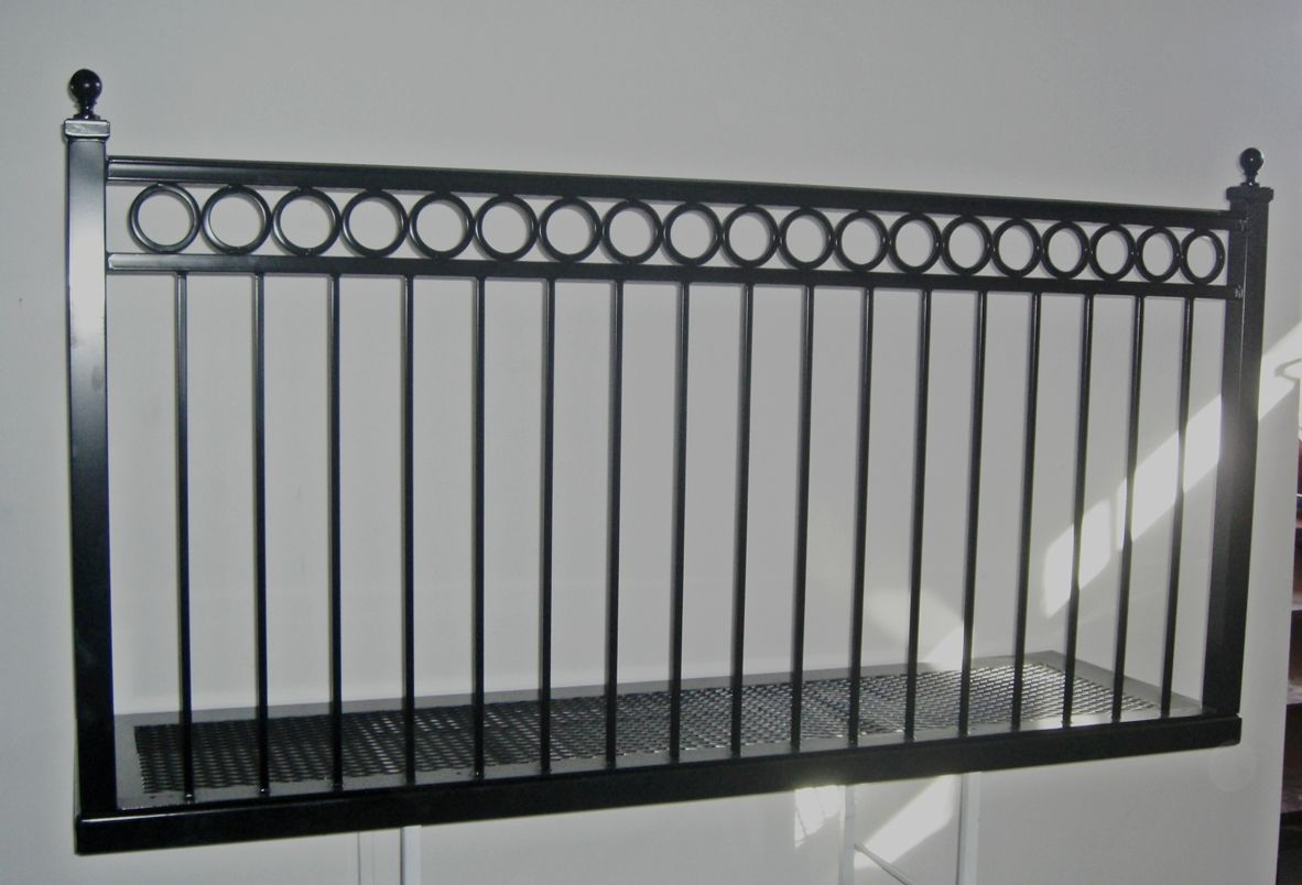 Wrought iron balconies ring band railing balcony from www deciron com they ship nationwide