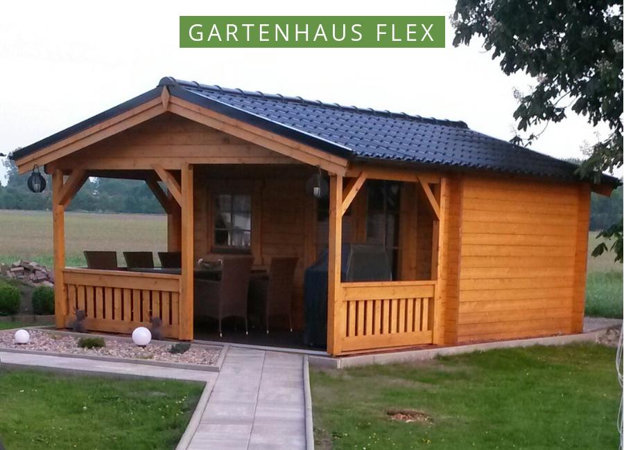 Gartenhaus Modell Flex 50A mit 200 cm Terrasse 4x3+2 in