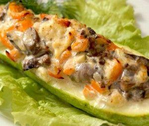 low cal Цукини, запеченные с брокколи, грибами и морковью