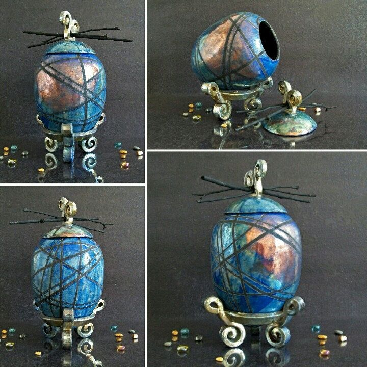 Blue copper raku pottery human or pet urn for ashes