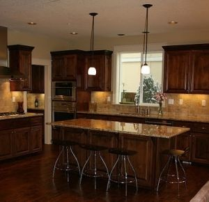 Kitchens With Dark Wood Floors Light Cabinets Floor Countertop