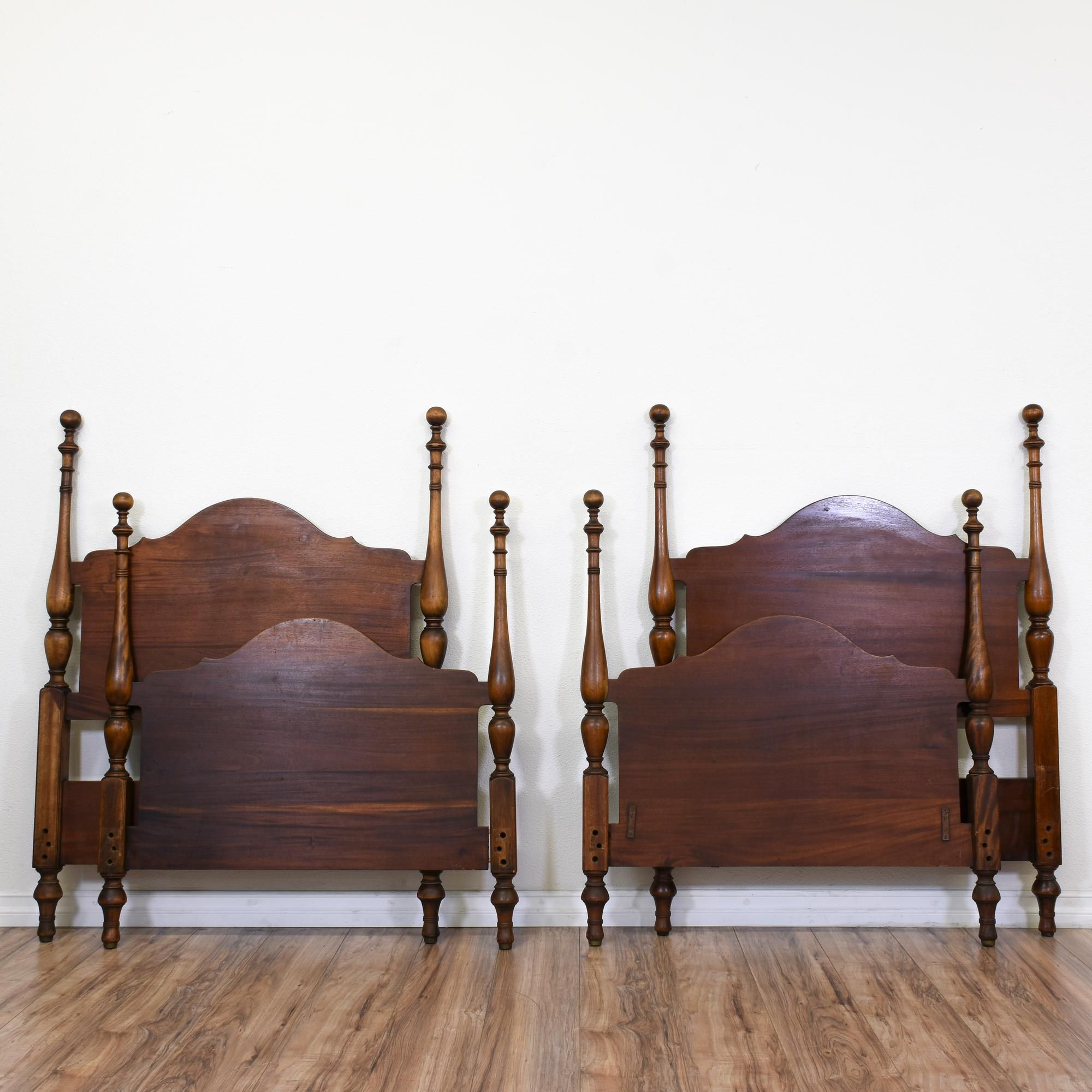 These Antique Twin Beds Are Featured In A Solid Wood With Mahogany Finish Each Headboard And Footboard Have Round Finial Tops Scallop Crest Rail