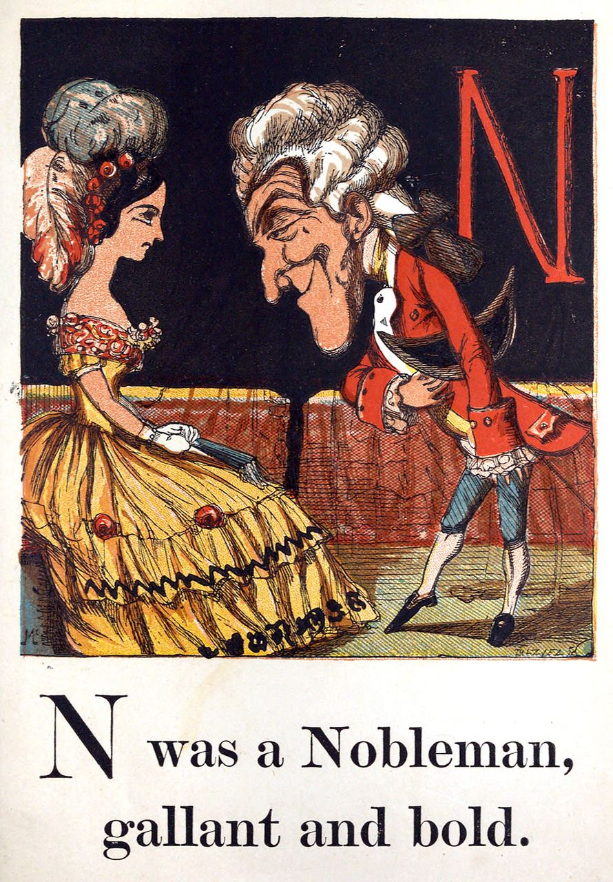 N was a nobleman.  Tom Thumb's Alphabet, from The Child's Coloured Gift Book, illustrated by the Brothers Dalziel, London, 1867
