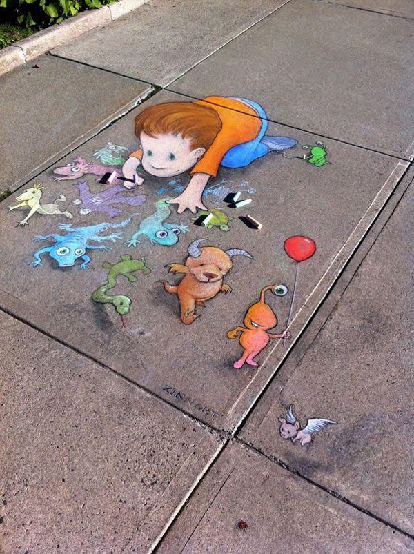 Link D Chalk Art Amazing Street Art Of David Zinn Sluggo - David zinns 3d chalk art adorably creative