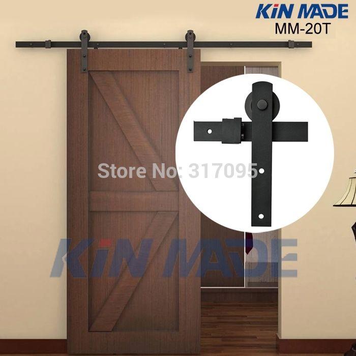 Free Shipping Home Diy Steel Sliding Barn Door Hardware Rustic Wood Door Closet Hardware 4 1ft 5ft 5 2f Barn Style Doors Barn Door Hardware Interior Barn Doors