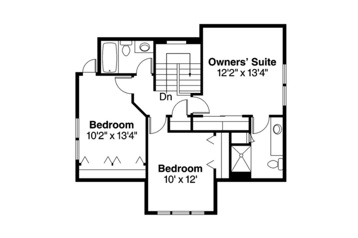 Bungalow Plan: 1,600 Square Feet, 3 Bedrooms, 2.5 Bathrooms - 035-00746