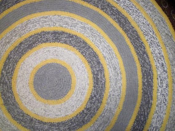 Large Round Gray And Yellow Crochet Rug Scandinavian Style