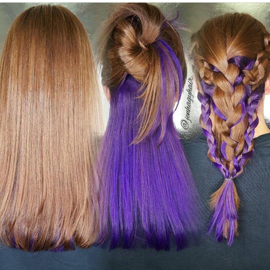 Purple Brown Hair Color Underneath In 2020 Hair Color Underneath Purple Underneath Hair Hidden Hair Color