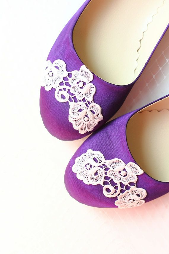 e699a18499cb Wedding Flat Shoes Purple Satin Bridal Ballet Flats with Ivory Lace ...