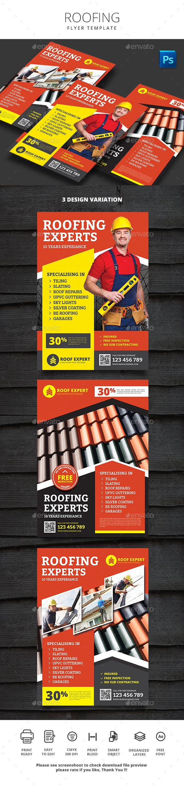 Roofing Flyer  Edit Text Flyer Printing And Print Templates