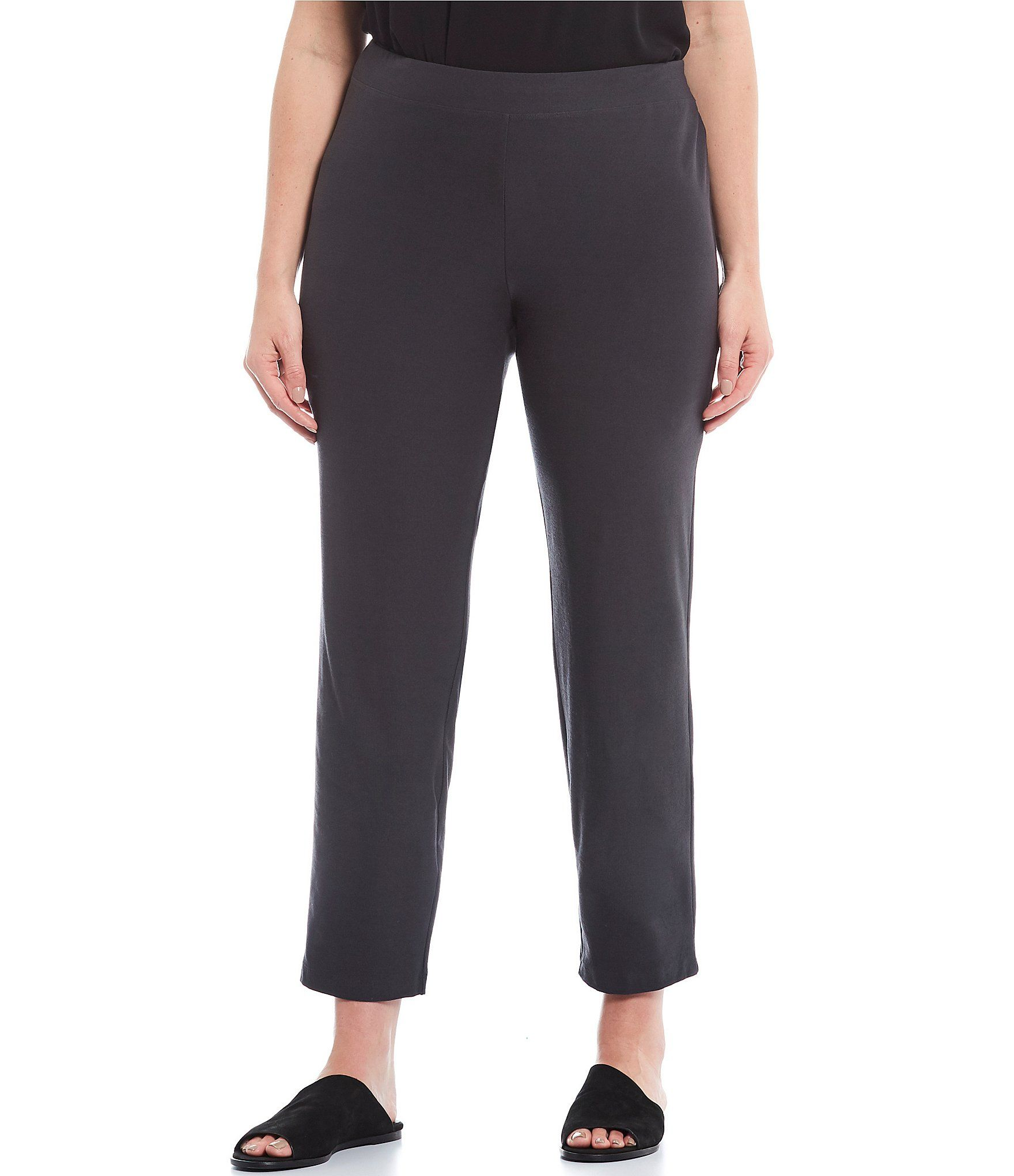Eileen Fisher Plus Size Slim Ankle Pant With Yoke - Charcoal 3X