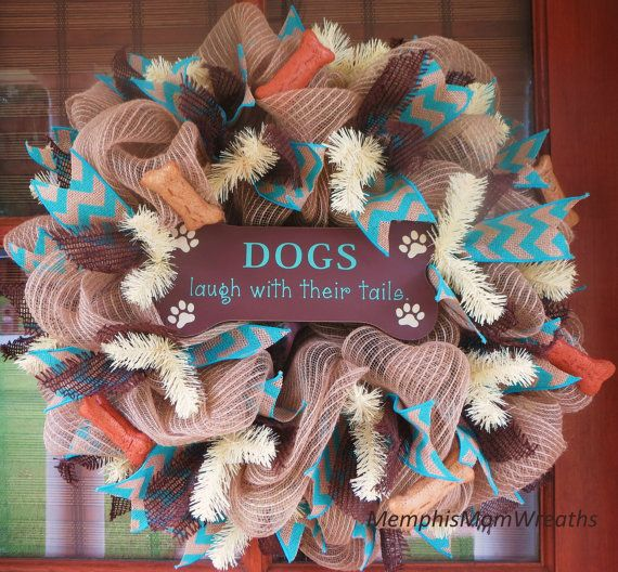 Crafts For Dog Lovers: Dog Lovers Burlap Wreath Deco Mesh Wreath By