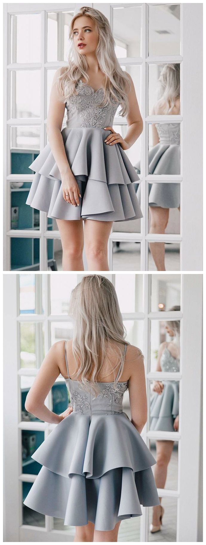 Simple hoco dressessilver homecoming dresses short prom dress