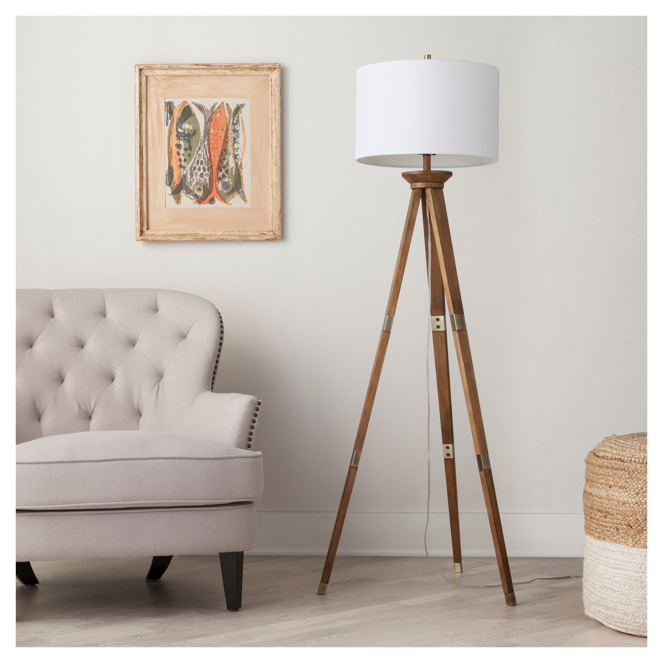 Standing Tall And Strong On 3 Slender Legs The Threshold Oak Wood Tripod Floor Lamp Brings
