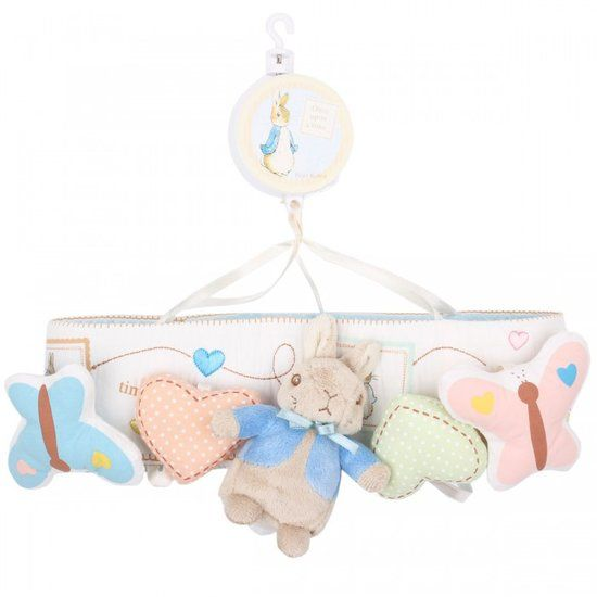 Peter Rabbit Musical Mobile: Send your baby off to lullaby land with Rainbow's Peter Rabbit Mobile ($66). It plays Mozart's Lullaby and attaches to the side of your crib.