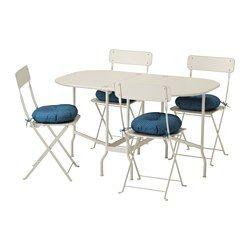 SALTHOLMEN, Ulkokalustesetti (pöytä/4taittotuo), beige, Ytterön sininen